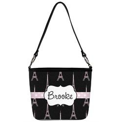 Black Eiffel Tower Bucket Bag w/ Genuine Leather Trim (Personalized)