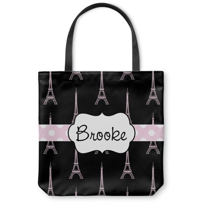 Black Eiffel Tower Canvas Tote Bag (Personalized)