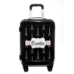Black Eiffel Tower Carry On Hard Shell Suitcase (Personalized)