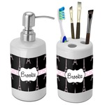 Black Eiffel Tower Bathroom Accessories Set (Ceramic) (Personalized)