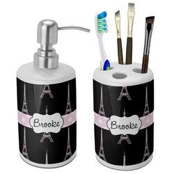 Black Eiffel Tower Bathroom Accessories Set (Ceramic) (Personalized)