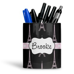 Black Eiffel Tower Ceramic Pen Holder