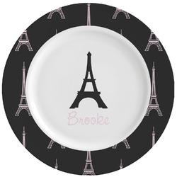 Black Eiffel Tower Ceramic Dinner Plates (Set of 4) (Personalized)