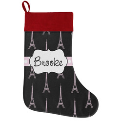 Black Eiffel Tower Holiday Stocking w/ Name or Text