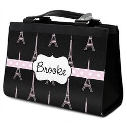 Black Eiffel Tower Classic Tote Purse w/ Leather Trim (Personalized)