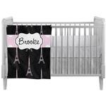Black Eiffel Tower Crib Comforter / Quilt (Personalized)