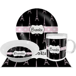 Black Eiffel Tower Dinner Set - 4 Pc (Personalized)