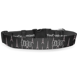 Black Eiffel Tower Deluxe Dog Collar (Personalized)