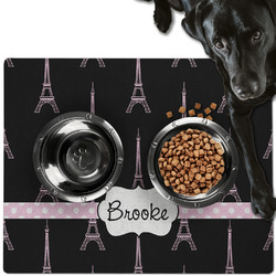 Black Eiffel Tower Dog Food Mat - Large w/ Name or Text