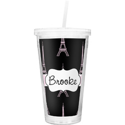 Black Eiffel Tower Double Wall Tumbler with Straw (Personalized)