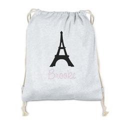 Black Eiffel Tower Drawstring Backpack - Sweatshirt Fleece (Personalized)