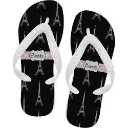 Black Eiffel Tower Flip Flops (Personalized)