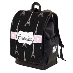 Black Eiffel Tower Backpack w/ Front Flap  (Personalized)