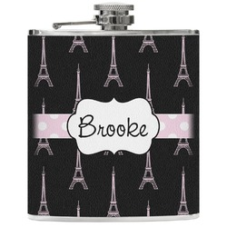 Black Eiffel Tower Genuine Leather Flask (Personalized)