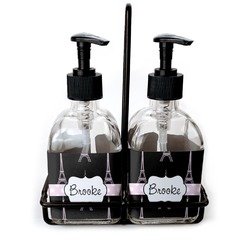 Black Eiffel Tower Soap & Lotion Dispenser Set (Glass) (Personalized)