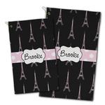 Black Eiffel Tower Golf Towel - Full Print w/ Name or Text