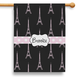 """Black Eiffel Tower 28"""" House Flag (Personalized)"""