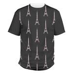 Black Eiffel Tower Men's Crew T-Shirt (Personalized)