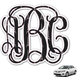Black Eiffel Tower Monogram Car Decal (Personalized)
