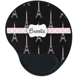 Black Eiffel Tower Mouse Pad with Wrist Support