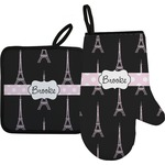 Black Eiffel Tower Oven Mitt & Pot Holder (Personalized)