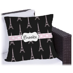 Black Eiffel Tower Outdoor Pillow (Personalized)
