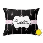 Black Eiffel Tower Outdoor Throw Pillow (Rectangular) (Personalized)
