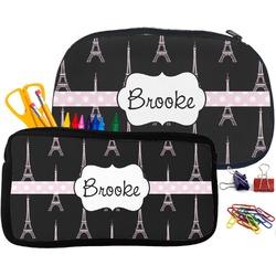 Black Eiffel Tower Neoprene Pencil Case (Personalized)