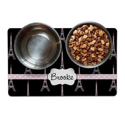 Black Eiffel Tower Dog Food Mat (Personalized)