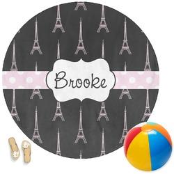 Black Eiffel Tower Round Beach Towel (Personalized)
