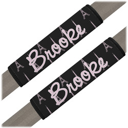 Black Eiffel Tower Seat Belt Covers (Set of 2) (Personalized)