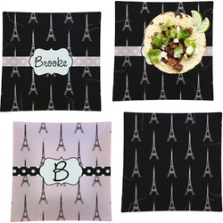 """Black Eiffel Tower Set of 4 Glass Square Lunch / Dinner Plate 9.5"""" (Personalized)"""