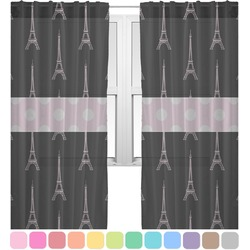 Black Eiffel Tower Sheer Curtains (Personalized)