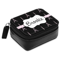 Black Eiffel Tower Small Leatherette Travel Pill Case (Personalized)
