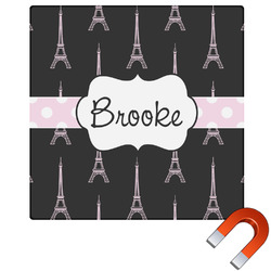Black Eiffel Tower Square Car Magnet (Personalized)