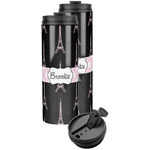Black Eiffel Tower Stainless Steel Skinny Tumbler (Personalized)