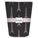 Black Eiffel Tower Waste Basket - Single Sided (White) (Personalized)