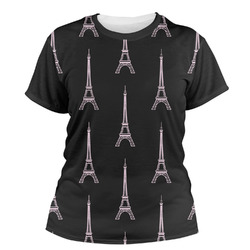 Black Eiffel Tower Women's Crew T-Shirt (Personalized)