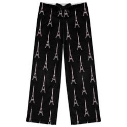 Black Eiffel Tower Womens Pajama Pants (Personalized)