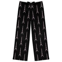 Black Eiffel Tower Womens Pajama Pants (Personalized)