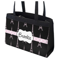 Black Eiffel Tower Zippered Everyday Tote (Personalized)