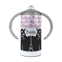 Paris Bonjour and Eiffel Tower 12 oz Stainless Steel Sippy Cup (Personalized)