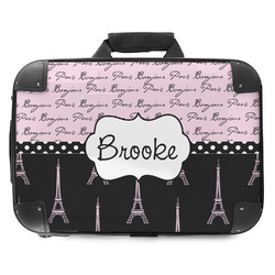 Paris Bonjour and Eiffel Tower Hard Shell Briefcase (Personalized)