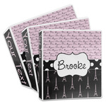 Paris Bonjour and Eiffel Tower 3-Ring Binder (Personalized)