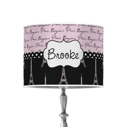 """Paris Bonjour and Eiffel Tower 8"""" Drum Lamp Shade - Poly-film (Personalized)"""