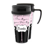 Paris Bonjour and Eiffel Tower Acrylic Travel Mugs (Personalized)