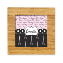 Paris Bonjour and Eiffel Tower Bamboo Trivet with Ceramic Tile Insert (Personalized)