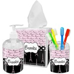 Paris Bonjour and Eiffel Tower Bathroom Accessories Set (Personalized)