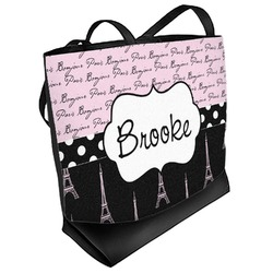 Paris Bonjour and Eiffel Tower Beach Tote Bag (Personalized)
