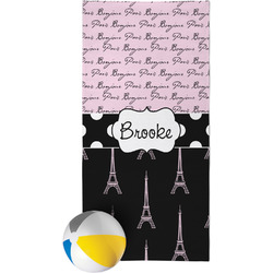 Paris Bonjour and Eiffel Tower Beach Towel (Personalized)